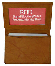 Tan RFID Security Leather Expandable Credit Card ID Business Holder Wallet