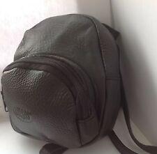 Negro Medio Cuero Mochila Ruck Sack Bag (Kouros)