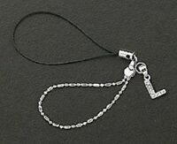 Cell Phone Charm Strap 925 Sterling Silver Dangle Crystal Letter L Free Shipping