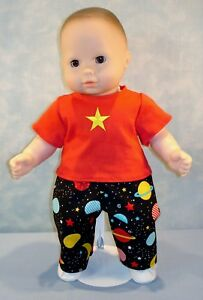 """15"""" Doll Clothes Planets & Stars Pants & Red T Shirt Boys Outfit by Jane Ellen"""