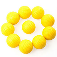 10pcs PE Plastics soft Golf Balls Indoor Outdoor Practice Training Yellow TO