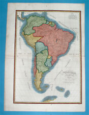 1838 ORIGINAL MAP SOUTH AMERICA PATAGONIA ARGENTINA CHILE PERU BOLIVIA COLOMBIA