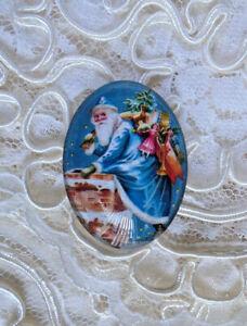 Blue Old World Santa 30X40mm Glitter Unset Handmade Glass Art Bubble Cameo Cab
