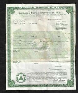 1976 Yamaha Motorcycle PA Title Certificate