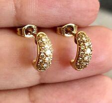 18ct Yellow Gold Diamond Earrings 0.30ct Half Hoop Round Studs Huggie