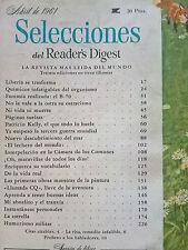 Revista Selecciones del Reader´s Digest vintage - abril 1961 España - publicidad