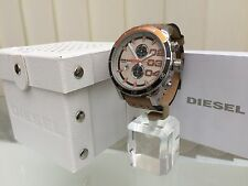 Mens Designer watch Diesel Franchise Tan Leather strap 50mm RRP £220 NEW  (a43