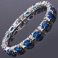 Xmas Oval Cut Blue Sapphire Fine Topaz 18K White Gold Plated Tennis Bracelet