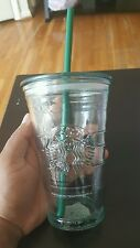 Starbucks Cold Cup Recycled Spanish Clear Glass Cold Iced Cup 16oz NIB