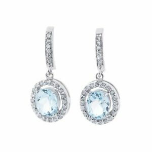 Earrings silver  blue topaz and cubic zirconia Russian style