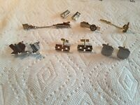 Men's Cuff Links, Tie Clips, 2 Pins A and E, Lot of 7, Men's Jewelry