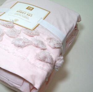 Pottery Barn Teen Pretty Pom Soft Pale Light Pink Cotton Queen Sheet Set New