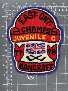 East Ontario Bancroft Juvenile C Hockey Champs 77 78 Chenille Felt Patch Canada