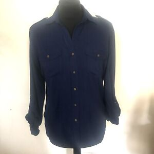 Next Size 8 Navy Blue Loose Blouse Shirt Top VGC Relaxed Fit