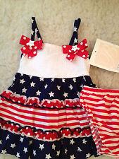 NWT Bonnie Jean BONNIE BABY Star Tier Sundress AMERICAN FLAG Girls 3-6 mo