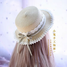 Straw Hats Lolita Mori Girl Country Style Bow Sweet Japanese Sun Helmet Cherry