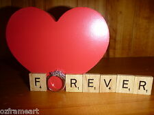 WOODEN SCRABBLE TILES FOREVER RING CRAFT WEDDING ENGAGEMENT LOVE SCRAP FREE POST