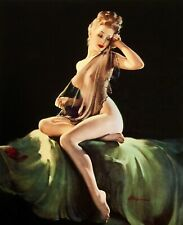 SALE Gil Elvgren ADORATION NUDE Original Painting Pin-Up Sheer Negligee Pinup