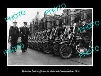 OLD LARGE HISTORIC AUSTRALIAN PHOTO OF VICTORIAN POLICE ARIEL MOTORCYCLES c1950