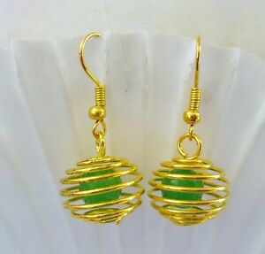 GREEN FACETTED REAL STONE EARRINGS Gold Plated Cage & Sheppard HOOK