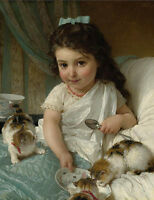 """perfect 20x24 oil painting handpainted on canvas""""little girl and cats"""" NO4149"""