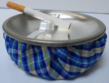 Eclipse Blue Plaid Fabric Weighted Beanbag Ashtray, Ash11