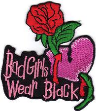 Aufnäher Bügelbild Iron on Patches Bad girls wear black mit Rose, Herz (a2m8)