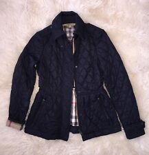 Authentic Burberry Brit Womens Navy Quilted Peplum Nova Check Jacket Coat XS TP