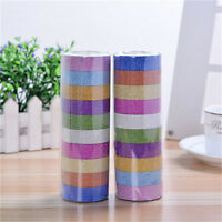10x Glitter Washi Paper Adhesive Tape DIY Craft Sticker Masking Decor 1.5cmx3m.
