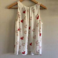 Zara Trafaluc cat chiffon sleeveless top blouse small