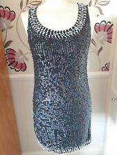 TOP SHOP BLACK 100% COTTON SEQUINNED MINI DRESS SIZE 10 - BNWT
