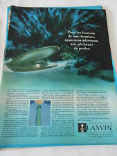 PUBLICITE 1957  Lanvin pour les boutons de nos chemises pêcheurs de perles