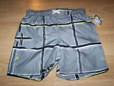 Size XS 4-5 OP Ocean Pacific Board Shorts Swim Trunks Gray Black White Lime New