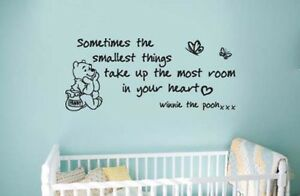 Winnie The Pooh Smallest Things Wall Quote Vinyl/Sticker Nursery Large 1200mm