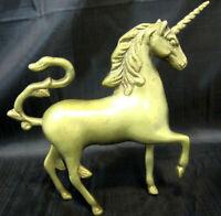 Unicorn Solid Brass Mystical Mythical Fantasy Mid-Century Decor Horse Equestrian