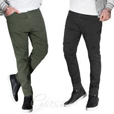 Pantalone Uomo Cinque Tasche Zip Bottone Cerniera Tinta Unita Vari Colori Cas...
