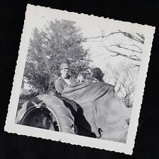 Vintage Antique Photograph Dad & Little Girls Covered Up & Riding on Tractor