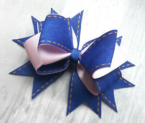 """BLUE and PINK HANDMADE LARGE 6"""" HAIR RIBBON BOW GIRLS ALLIGATOR CLIP HAIR BOW"""