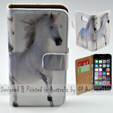 Wallet Phone Case Flip Cover ONLY for iPhone 5 / iPhone 5S - Two White Horses