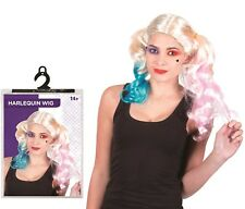 Halloween Fancy Dress Party Costume Harelquin Harley Quinn Wig Accessory Cosplay