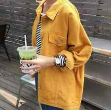 Womens Cotton Coats Jackets Loose Fit Outwear Lapel Overalls Korean Fashion F016