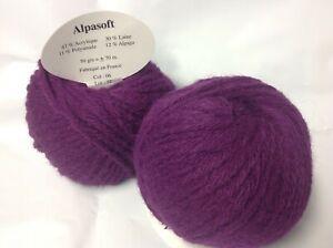 10 pelotes de laine  alpaga  cardinal - extréme douceur 06  - Fabriqué en France