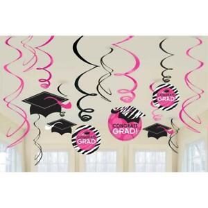 Zebra Party Pink Congrats Grad Graduation Theme Party Hanging Swirl Decorations