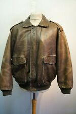 VINTAGE CREEKS HEAVY LEATHER FLIGHT BOMBER ZIP OUT SHERPA LINER JACKET SIZE XL
