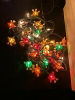 VINTAGE M&M MAN STRING LIGHTS 2 SETS OF LIGHTS WITH 27 COVERS WORKING