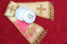 """Antique French Gold Metallic Embroidered LUSH 90"""" Long Catholic Priest Vestment"""