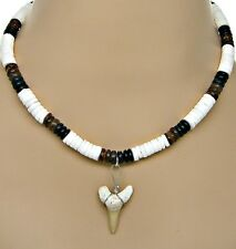 "18"" 46cm Fossil Shark Tooth Necklace 8mm Coconut Puka Shell Beads Sharks Teeth"