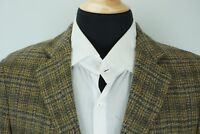 Hickey Freeman Woven Wool Tweed Brown Blue Plaid Sport Coat Jacket Sz S