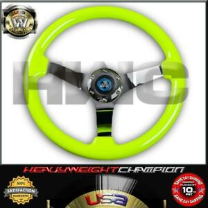 YELLOW WOOD CHROME TRIM STEERING WHEEL DEEP 6 BOLT WITH HORN BUTTON
