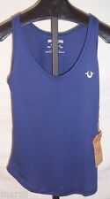 NWT True Religion blue Tank Top Misses Size Extra small with White embroidery